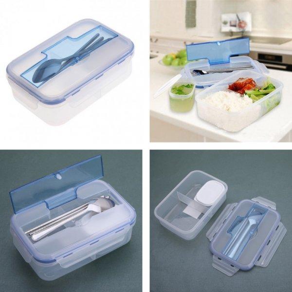 Практичный контейнер для обеда VKTECH (1000 мл, 23*13*7 см, 3 отсека+контейнер+стол.приборы)