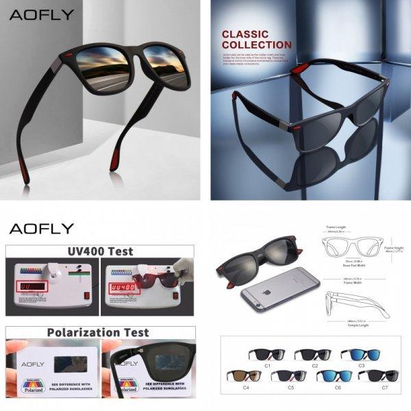 Легкие солнцезащитные очки для мужчин AOFLY (UV400, 7 цветов)