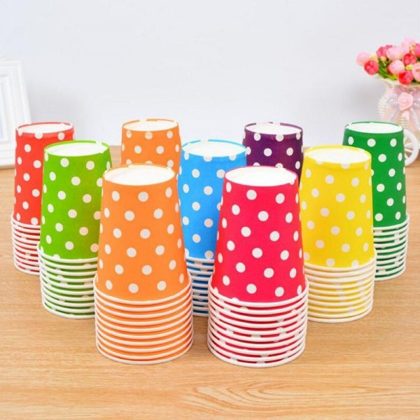 Одноразовые стаканчики для праздника (10 шт, 8 цветов, 250 мл)