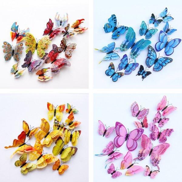 3D наклейка Бабочки (10 цветов, 12 шт)