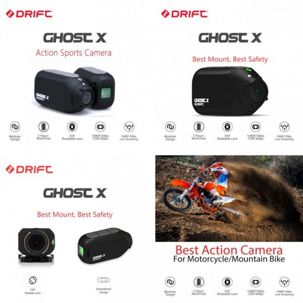 Экшн камера Drift для экстрима (1080 P,  Wi-Fi, 5 ч работы без подзарядки)