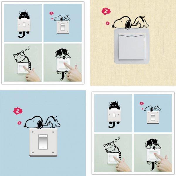 Забавные стикеры Питомцы для декора выключателя (5 видов)