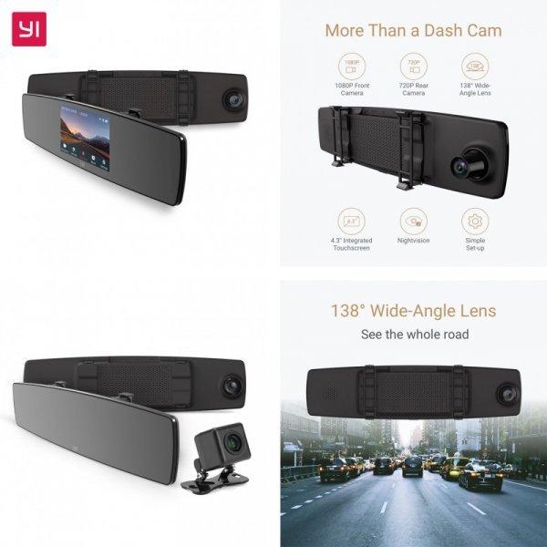 Зеркало-видеорегистратор YI  с сенсором и 2 камерами (138 градусов)
