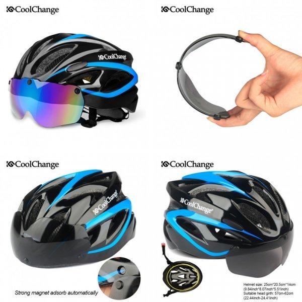 Велошлем с очками CoolChange (12 цветов)