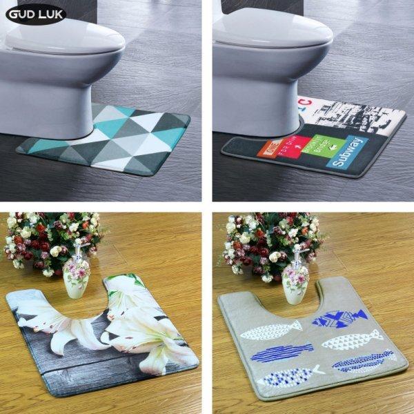 Идеальный коврик GUDLUK с геометрическим рисунком для туалета  (8 цветов, 45*50 см)