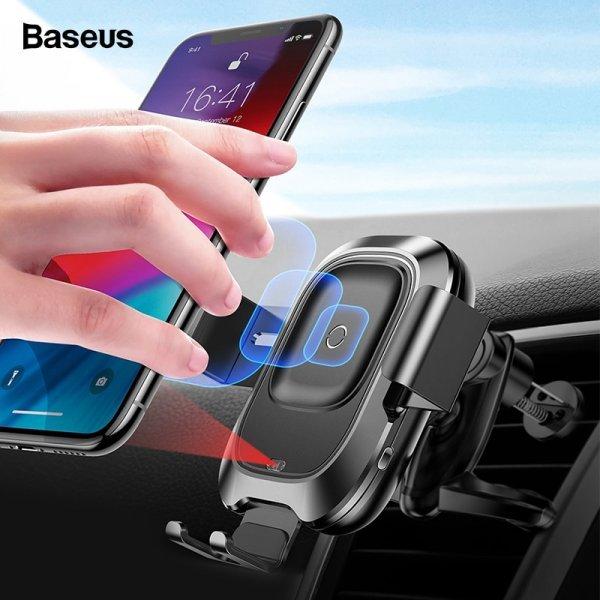 Беспроводная зарядка с держателем для телефона в авто Baseus