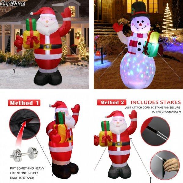 Светящийся снеговик или Дед Мороз на улицу (1 шт)