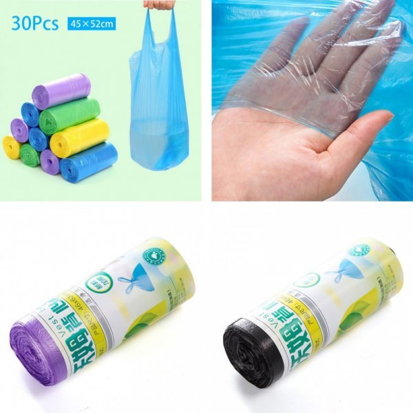 Мусорные мешки с ручками (3 цвета)