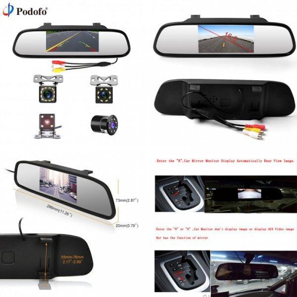 """Видеорегистратор с зеркалом заднего вида для авто Podofo 4,3"""""""