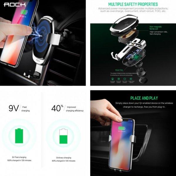 Автомобильная беспроводная зарядка и держатель Rock  (10 Вт, для iPhone, Samsung, Galaxy)