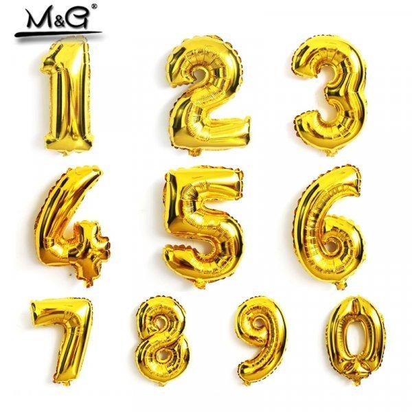 """Воздушные шары для праздника в любом возрасте ( 1 шт, 16"""", золотая фольга)"""