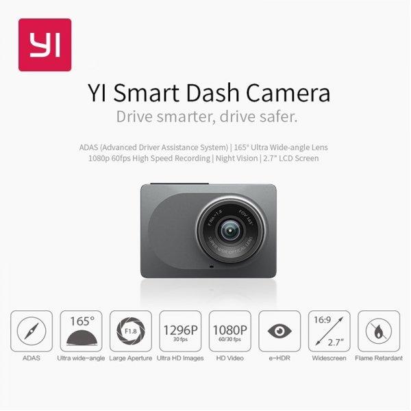 """Видеорегистратор для авто YI с ночным видением (WiFi HD 1080P 2.7"""" 165 градусов, 60 к/c)"""