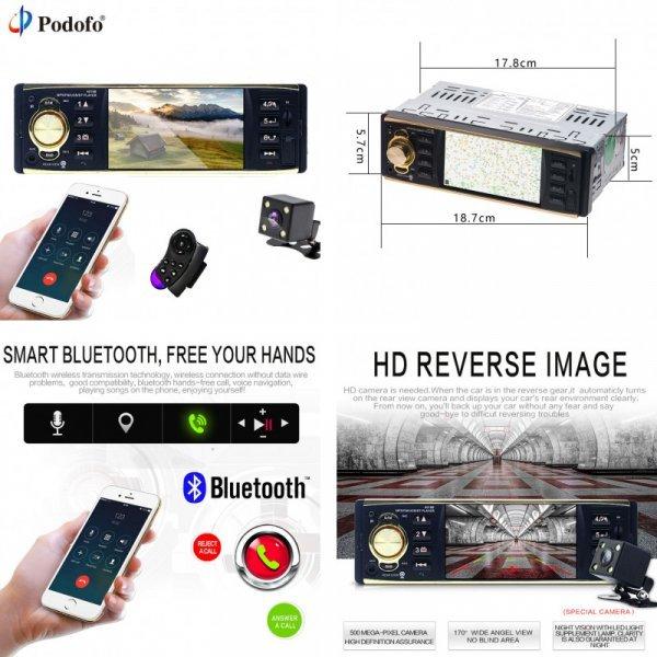 MP3 магнитола в авто Podofo 4 '' (TFT 1 Din Bluetooth  USB FM)
