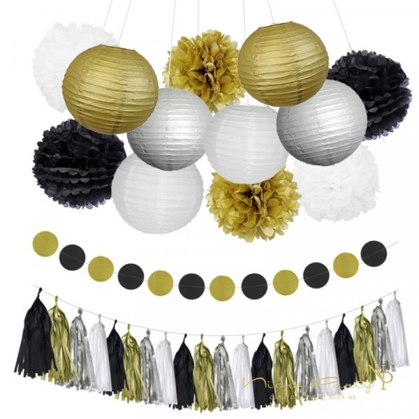 Бумажные шары и гирлянда для праздника (8 шт)