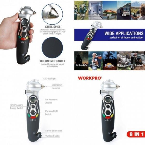 Мульти прибор для эвакуации из авто WORKPRO (фонарик, резак, молоток, манометр)