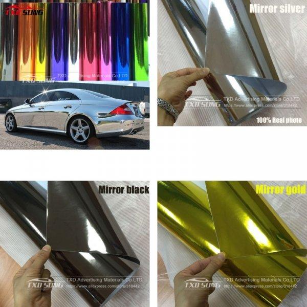 """Виниловая пленка """"под зеркало и хром"""" для кузова авто (13 цветов, 6 размеров)"""