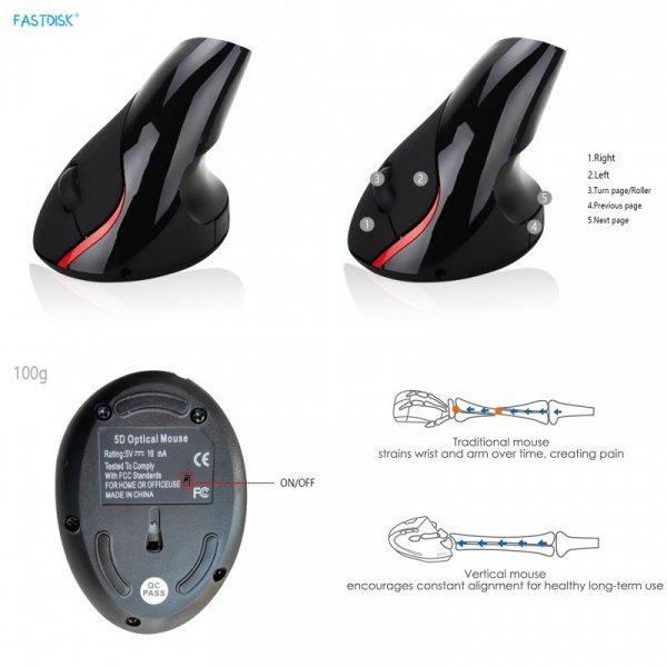 Чумовая Мышь FastDisk с вертикальным захватом 800-1200-1600dpi