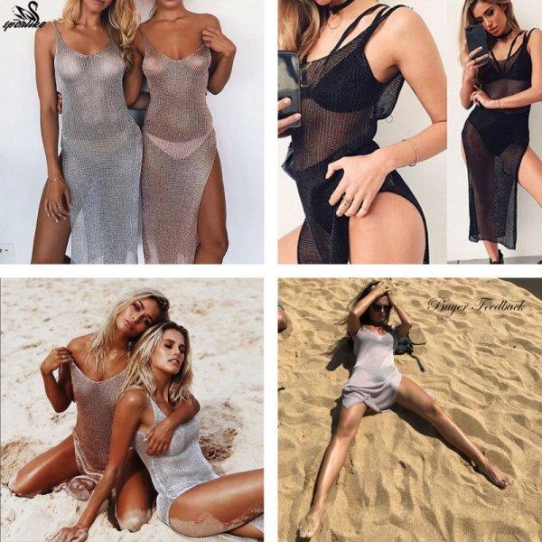 Безумное пляжное платье для элегантных и смелых Sporlike (3 цвета, рост 160 см)
