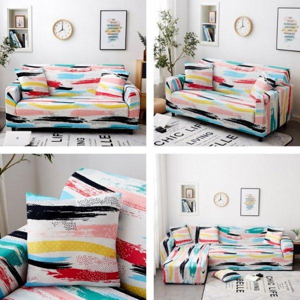 Яркий чехол на диван (18 принтов, 5 размеров)