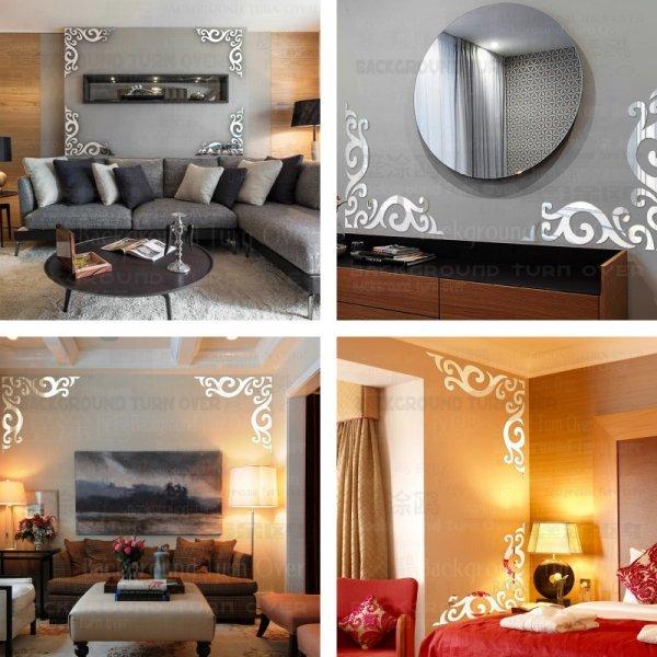 Винтажная зеркальная наклейка  для гостиной Рамка  (2 шт, 11 цветов, 5 размеров)