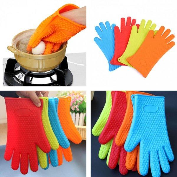 Яркие термостойкие перчатки для кухни и барбекю VKTECH (1 шт, 4 цвета)