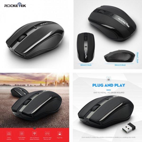 Удобная беспроводная мышь Rocketek 1600 dpi
