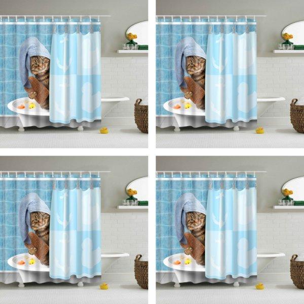 Веселая шторка с котом для ванной Luxury smart (180x180, 180x200, 150x180, 150x200 см)