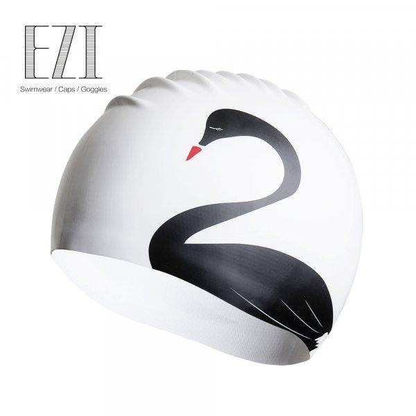 Стильная шапочка для плавания Лебедь
