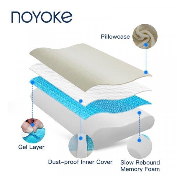 Шикарная подушка NOYOKE  на лето с охлаждающим гелем (50*30*10 см, 60*40*13 см)