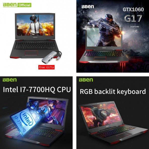 "Игровой ноутбук Bben G17 17,3 "" (NVIDIA GTX1060 GDDR5 pro windows10 intel 7th 8 ГБ/16 ГБ/32 ГБ)"