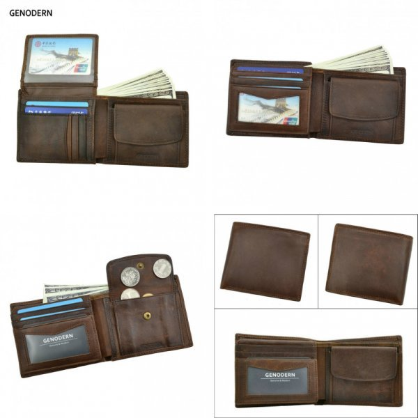 Бумажник для мужчин GENODERN с карманом для монет (5 цветов, 12*9,5*2,5 см)