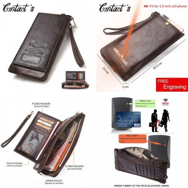 Вместительное портмоне-сумка для мужчин Contact'S  (нат.кожа, 2 цвета, 20.5*11*1 см)