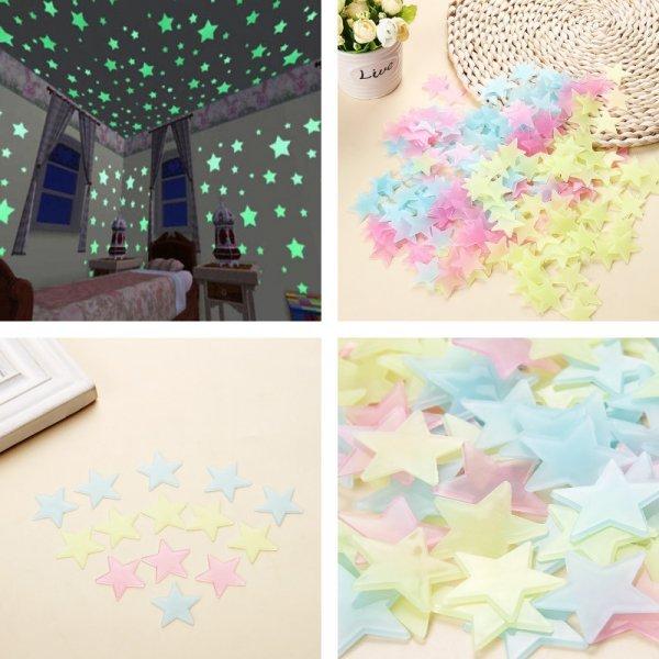 Светящиеся наклейки на стену (4 цвета, 100 шт)