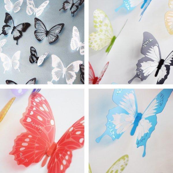 Наклейки Бабочки (18 шт, 4 цвета)