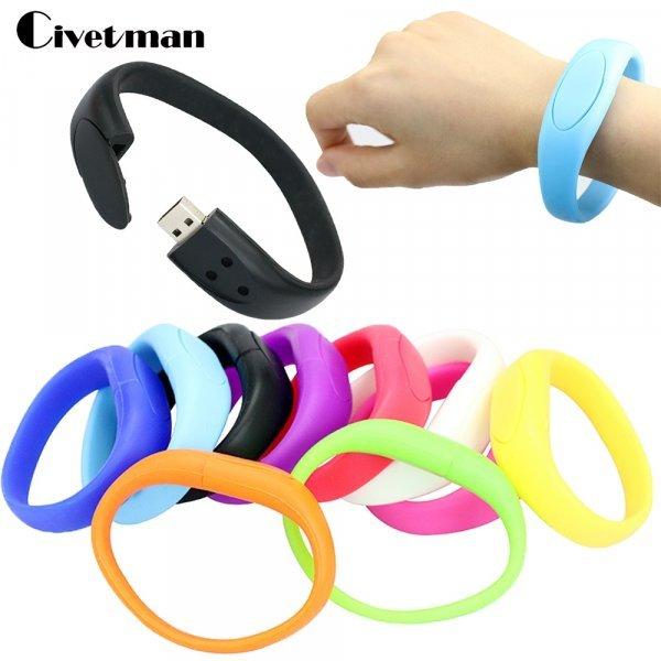 Силиконовый браслет-флэшка от CIVETMAN (USB 2.0, до 128 Гб, 8 цветов)