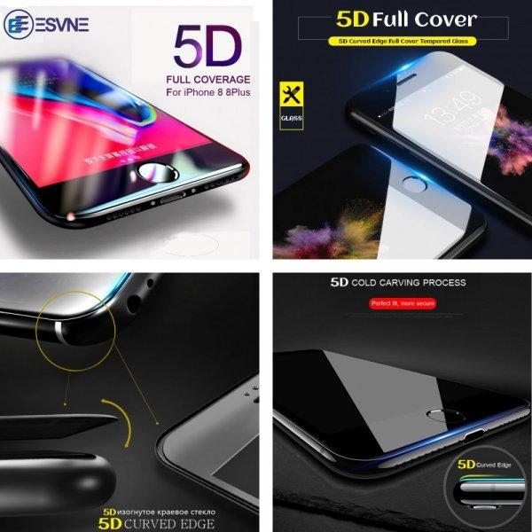 Защитное стекло на IPhone 8 и 8 плюс от Esvne (5D)