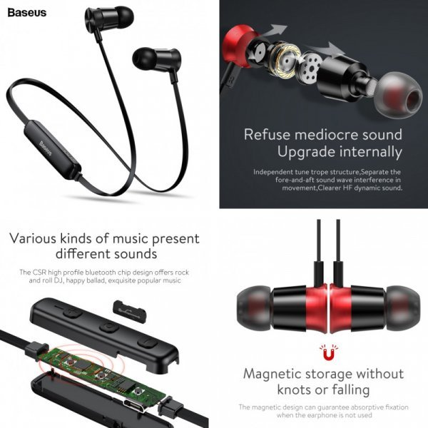 Наушники Baseus S07 с Bluetooth  для iPhone, Xiaomi