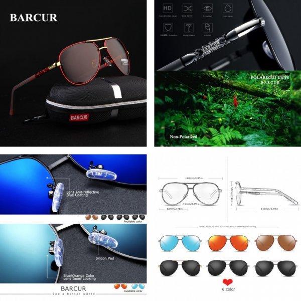 Модные очки для мужчин BARCUR (поляризация, 6 цветов)
