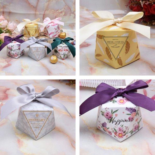 Шикарные коробки для сувениров на свадьбу (6 цветов, 5.5*5.5*6 см, 20/50/100 шт)