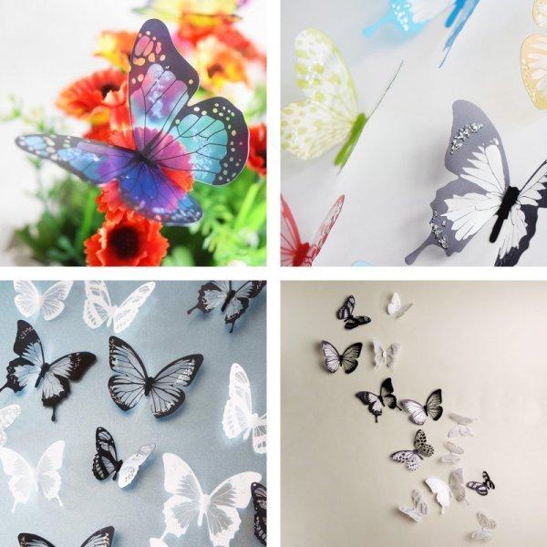 3D стикеры Бабочки HonC (4 цвета, 18 шт)