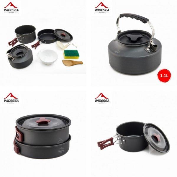 Шикарный набор походной посуды с чайником Widesea (9 предметов)