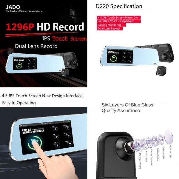 "Автовидеорегистратор JADO D220 4.5"" Touch Screen Full HD 1296P/1080P"
