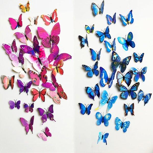 Декоративные 3D бабочки на стену гостиной или спальни (12 шт, 25 цветов)