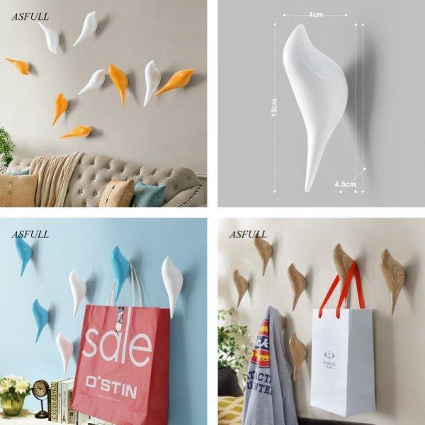 Декоративные 3D крючки  Птицы (5 цветов, 4*4.5*13 см)